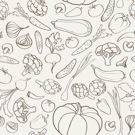 Voedselingrediënt naadloze achtergrond. Plantaardige patroon. Stock Illustratie