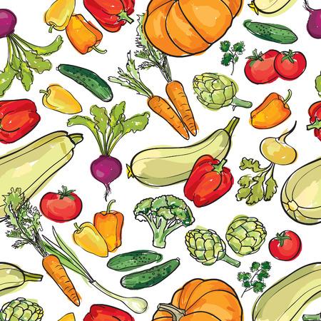 Vegetables pattern. Food ingredient seamless background.  イラスト・ベクター素材