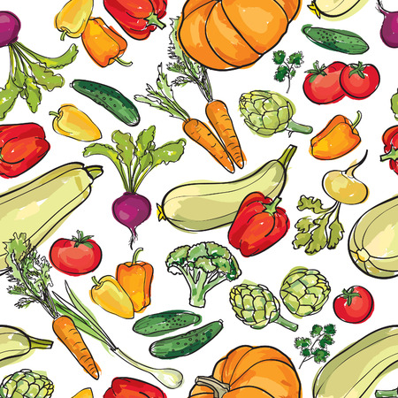 Vegetables pattern. Food ingredient seamless background. Vettoriali