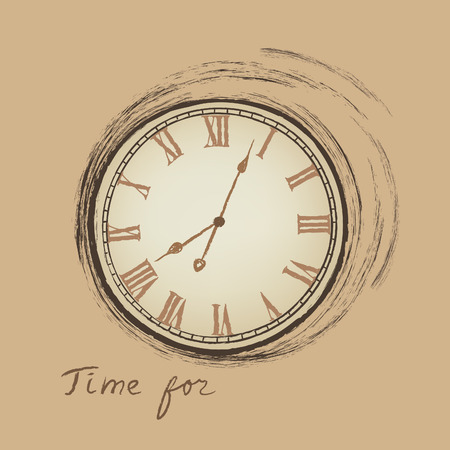 old stamp: Clock concept in retro style. Time for happy hour.