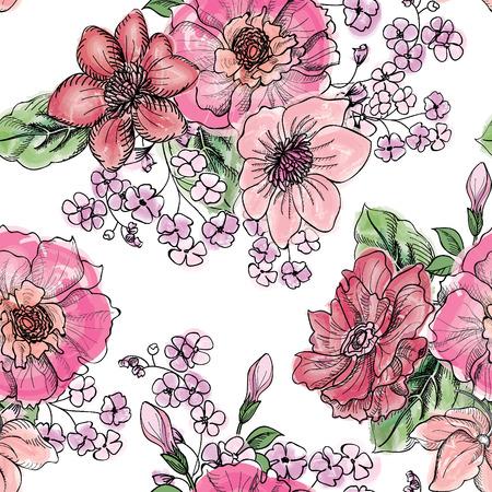Floral seamless pattern. Flower bouquet background. Vintage flourish border for spring card design. 일러스트