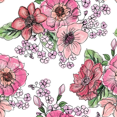Floral seamless pattern. Flower bouquet background. Vintage flourish border for spring card design. Illustration