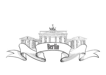 animal den: Berlin label. Travel Germany symbol. Famous german architectural landmark Brandenburg gates.
