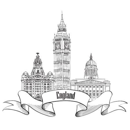 old pencil: England label. Famous english architectural landmarks. Visit UK banner.