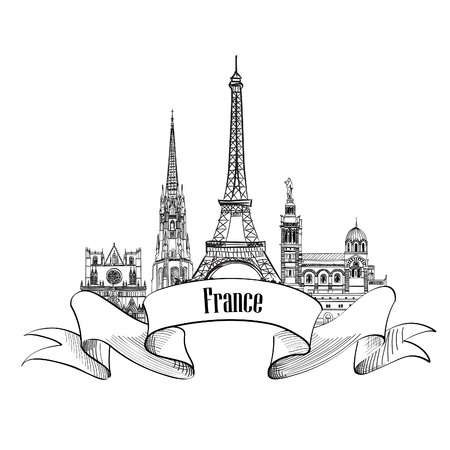sacred heart: France label. Famous french architectural landmarks. Visit France banner.