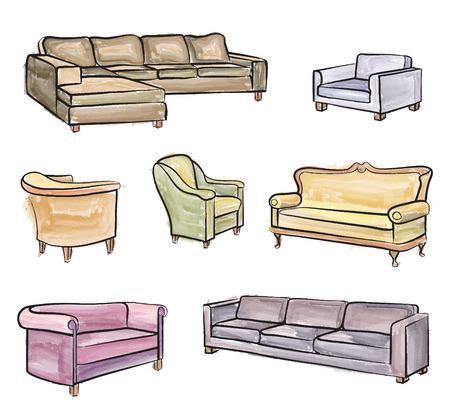 divan: Furniture set. Interior detail water colour outline collection: chair, armchair, stool