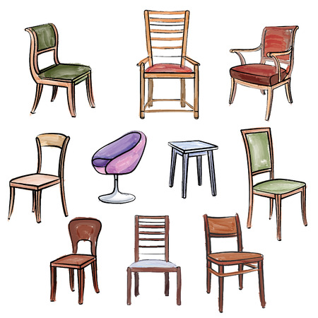 stools: Furniture set. Interior detail water colour outline collection: chair, armchair, stool