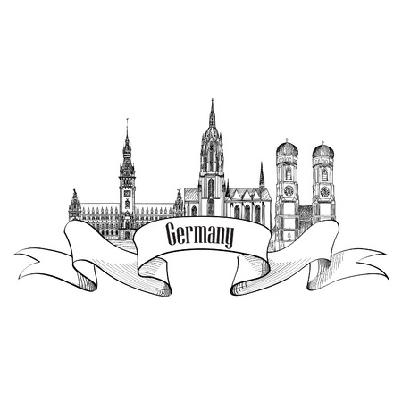 cologne: Germany label. Travel German city symbol. Famous german architectural landmarks.