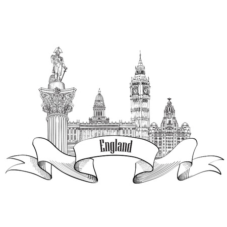 sights: England label. Famous english architectural landmarks symbol. Visit UK. Travel Europe  banner. Illustration