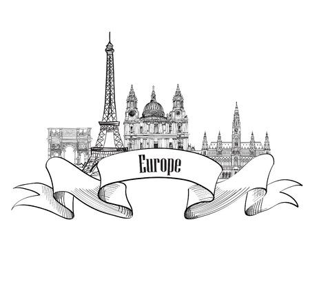 Viaja etiqueta Europa. Edificios y monumentos famosos. Emblema europeo ciudad capital. Ilustración de vector