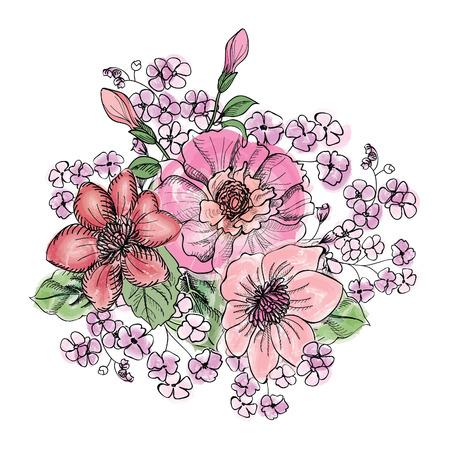flower bouquet: Flower bouquet. Floral frame.