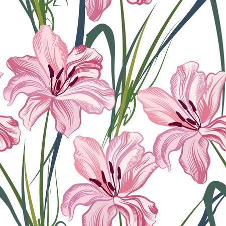 Bloemen naadloos patroon. Flower geometrische abstracte achtergrond. Stock Illustratie