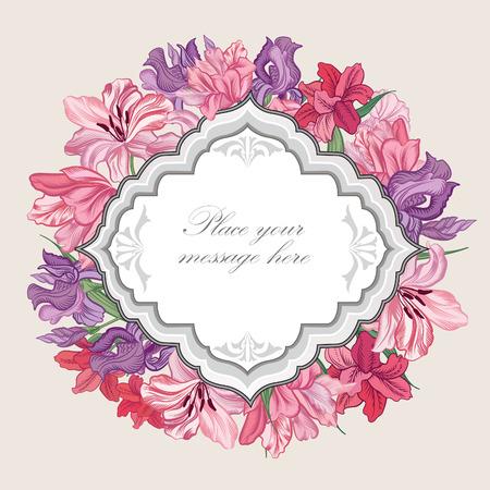 Floral frame. Flower bouquet background. Vintage flourish spring card or cover. Vector