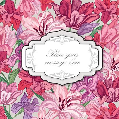 Floral border. Flower bouquet background. Vintage flourish spring card or cover.