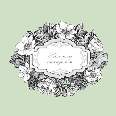 Floral frame. Bouquet de fleurs fond. Vintage carte de printemps épanouir ou le couvercle.