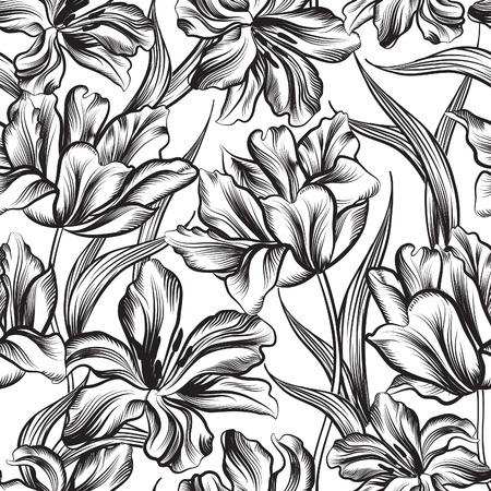 花のシームレスなパターン。花の背景。花と花のシームレスなテクスチャです。  イラスト・ベクター素材