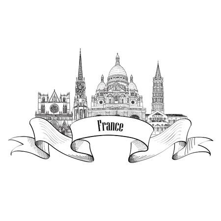 toulouse: France label. Famous french architectural landmarks. Visit France banner.