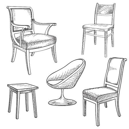 Conjunto de muebles. Interior colección detalles de la silueta: silla, sillón, taburete. Ilustración de vector
