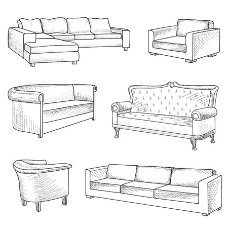 furniture detail: Furniture set. Interior detail outline sketch collection: bed, sofa, settee, armchair.