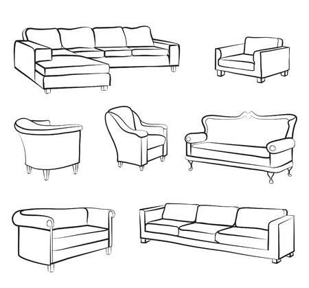 furniture detail: Furniture set. Interior detail outline collection: bed, sofa, settee, armchair.