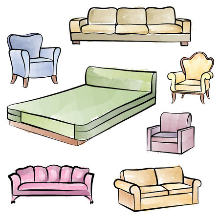 sofa: Furniture set. Interior detail isolated color outline collection: bed, sofa, settee, armchair.