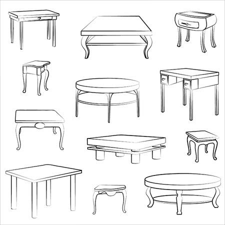 muebles antiguos: Conjunto de muebles. Interior detalles de la silueta collectionof diferente mesa y escritorio. Vectores
