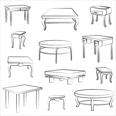 wooden desk: Furniture set. Interior detail outline collectionof different table and desk.
