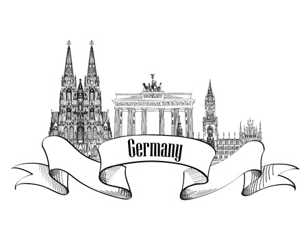 animal den: Germany label. Travel Germany symbol. Famous german architectural landmarks. Illustration