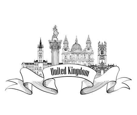 westminster abbey: United Kingdom of Great Britain label. Famous english architectural landmarks. England symbol. Visit UK. Travel Europe banner. Illustration