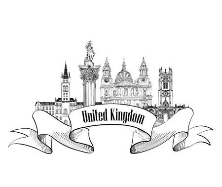 great hall: United Kingdom of Great Britain label. Famous english architectural landmarks. England symbol. Visit UK. Travel Europe banner. Illustration