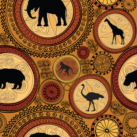 folk art: African ethnic seamless pattern. Abstract textured background with african animals.