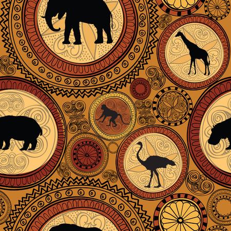 tribu: Modelo inconsútil étnico africano. Resumen de fondo con textura con animales africanos.