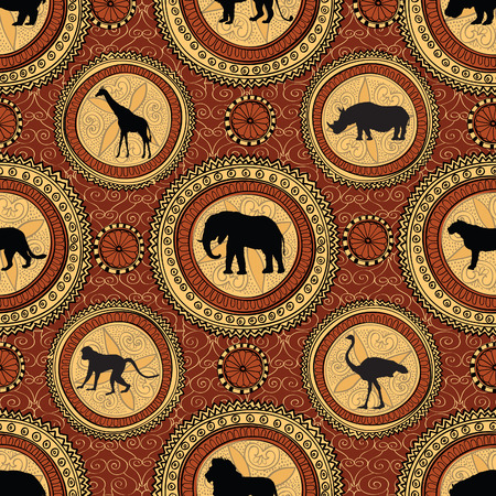 animal ritual: African ethnic seamless pattern. Abstract textured background with african animals.