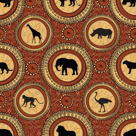 Afrikaanse etnische naadloos patroon. Abstracte geweven achtergrond met Afrikaanse dieren. Vector Illustratie
