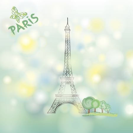 toulouse: Paris spring background with Eiffel tower Illustration