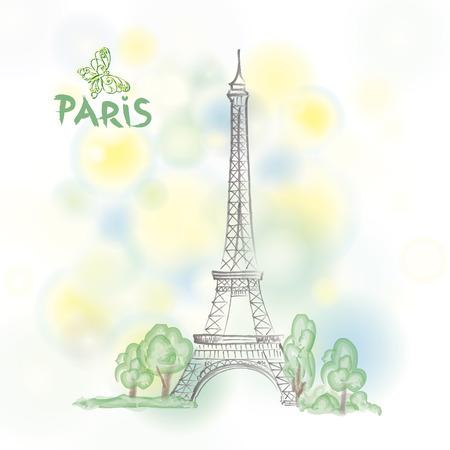 montmartre: Paris spring background with Eiffel tower Illustration