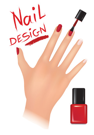 red nail colour: Woman hand with applying a varnish on nails