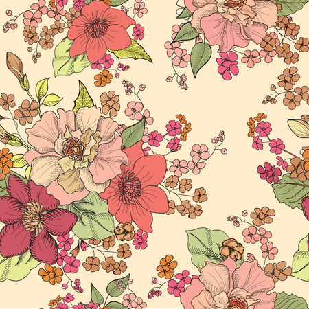 flower sketch: Floral seamless background