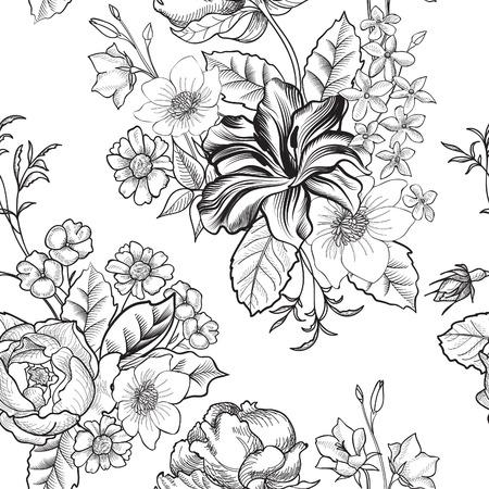 cartoline vittoriane: Floral background senza soluzione di continuit? Vettoriali