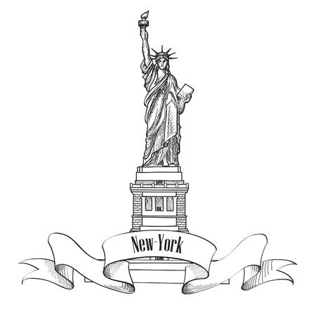 hudson: Liberty Statue New York USA. Hand draw sketch Illustration