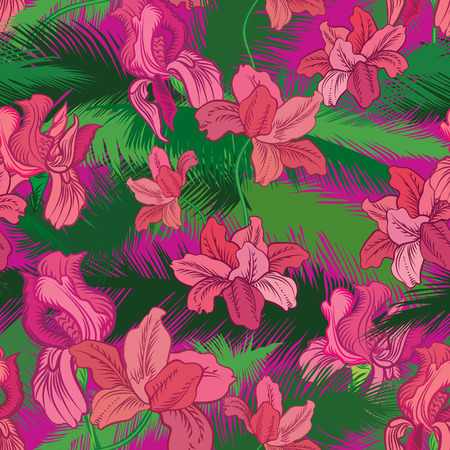 tree peony: Floral seamless pattern