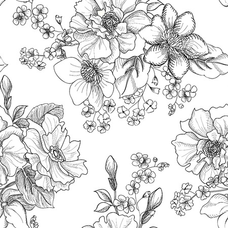 Bloemen naadloze patroon Stock Illustratie