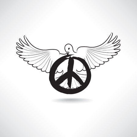 simbolo de la paz: Símbolo de paz. Paloma con signo pacifismo aislado Vectores