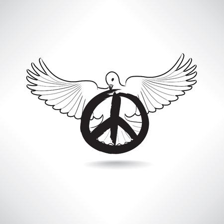 segno: Simbolo di pace. Colomba con il pacifismo segno isolato Vettoriali