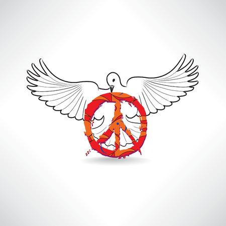 paz interior: S�mbolo de paz. Paloma con signo pacifismo aislado Vectores
