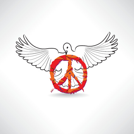 simbolo della pace: Simbolo di pace. Colomba con il pacifismo segno isolato Vettoriali
