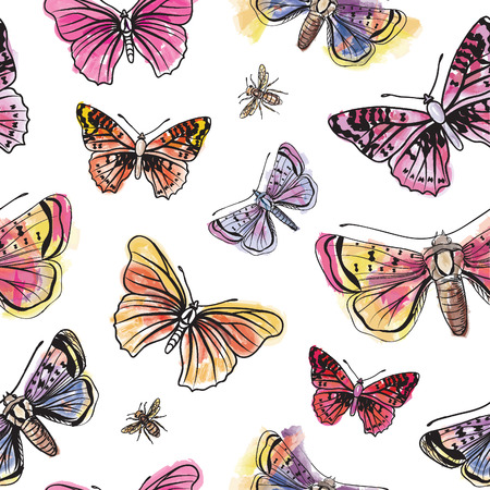 blue prints: Butterfly watercolor seamless pattern