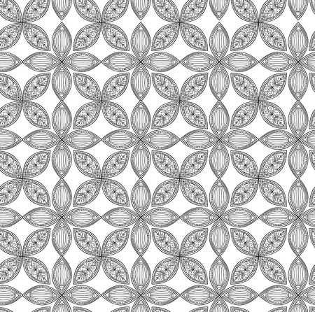 black and white celtic: Abstract floral geometric pattern.