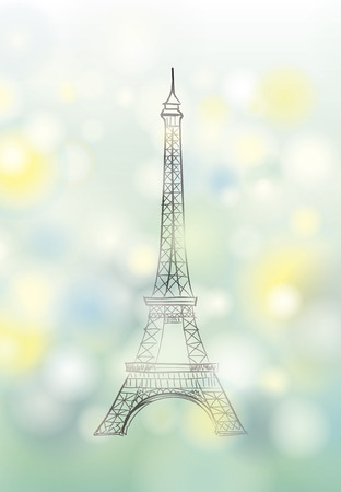 coeur: Paris spring background with Eiffel tower Illustration