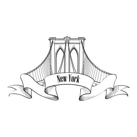 New York Brooklyn Bridge Symbol Vettoriali